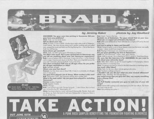 Discorder June 1999 - Interview with Braid by Jeremy Baker and photos by Jay Douillard