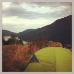 My campsite on Salt Spring on Mount Bruce looking over at Mount Maxwell and Burgoyne Bay.